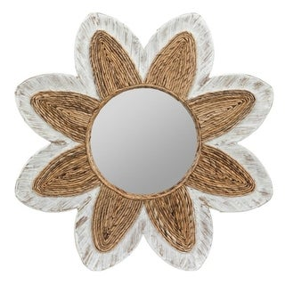Cooper Classics Shila Whitewashed Banana Leaf Mirror