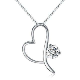 Sterling Silver Open Heart Pendant with CZ Crystal on 18 Inch Box Chain Necklace