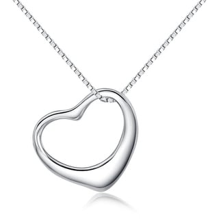 Carolina Glamour Collection Sterling Silver Open Floating Heart Charm on 18 Inch Box Chain Necklace