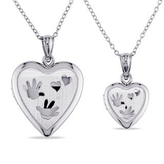 Miadora Sterling Silver 2-piece Heart Necklace Locket Set