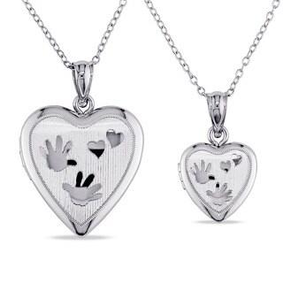 Miadora Sterling Silver 2-piece Heart Necklace Locket Set