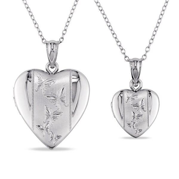 Miadora Sterling Silver Heart Locket Necklaces (Set of 2)