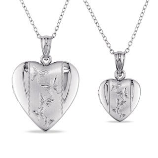 Miadora Sterling Silver Heart Locket Necklaces (Set of 2)