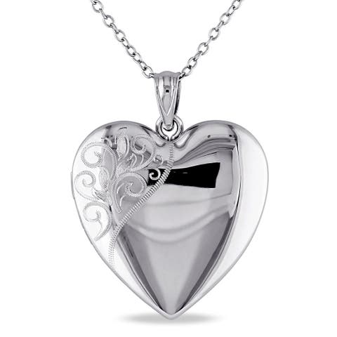 Miadora Sterling Silver Heart Quadruple Locket Necklace