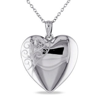 Miadora Sterling Silver Heart Quadruple Locket Necklace