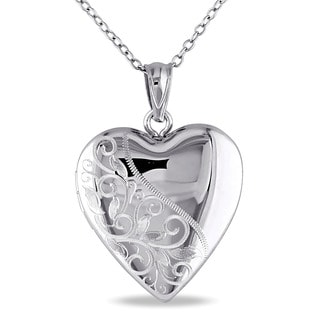 Miadora Sterling Silver Heart Locket Necklace