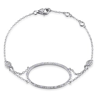 Miadora Sterling Silver 1/10ct TDW Diamond Circle Bracelet (G-H, I2-I3)