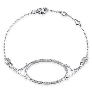 Miadora Sterling Silver 1/10ct TDW Diamond Circle Bracelet