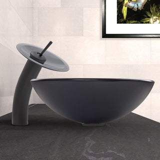 VIGO Sheer Black Frost Glass Vessel Sink and Waterfall Faucet Set in Matte Black Finish