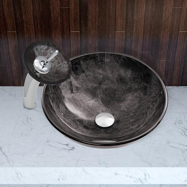 VIGO Grey Onyx Glass Vessel Bathroom Sink and Waterfall Faucet Set