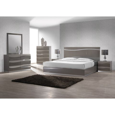 Somette 4-piece Devlin Grey Glossy King-size Bedroom Set