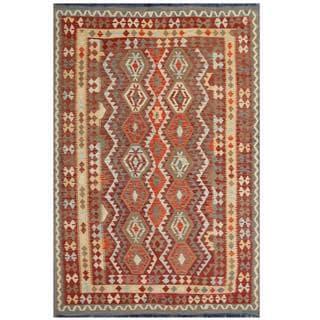 Herat Oriental Afghan Hand-woven Tribal Kilim Burgundy/ Beige Wool Rug (6'6 x 9'7)