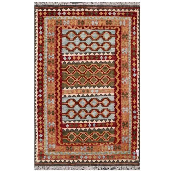 Herat Oriental Afghan Hand-woven Tribal Wool Kilim (6'6 x 9'9) - 6'6 x 9'9