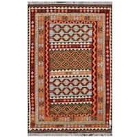 Handmade Herat Oriental Afghan Tribal Wool Kilim  - 6'6 x 9'9 (Afghanistan)