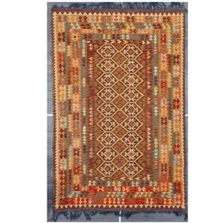 Herat Oriental Afghan Hand-woven Tribal Kilim Rust/ Gray Wool Rug (6'8 x 9'10)