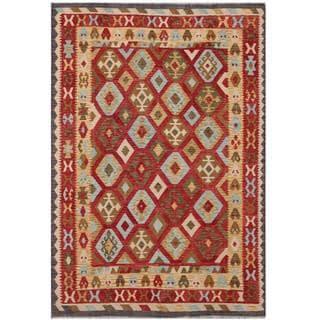 Herat Oriental Afghan Hand-woven Tribal Wool Kilim (6'8 x 9'5)