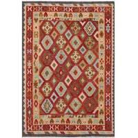 Handmade Herat Oriental Afghan Tribal Wool Kilim  - 6'8 x 9'5 (Afghanistan)