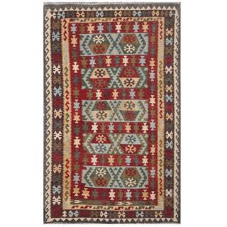 Herat Oriental Afghan Hand-woven Tribal Kilim Burgundy/ Black Wool Rug (6'4 x 9'8)