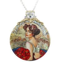 Michael Valitutti Painted Mother of Pearl Shell Pendant