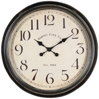 "Oversized 24"" Metal Black Wall Clock"