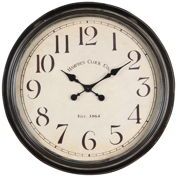 "Oversized 24"" Metal Black Wall Clock. Opens flyout."