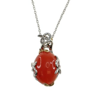 Michael Valitutti Sterling Silver Orange Chalcedony Spinel Necklace