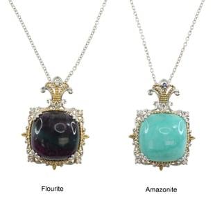 Michael Valitutti Sterling Silver Flourite or Amazonite Necklace