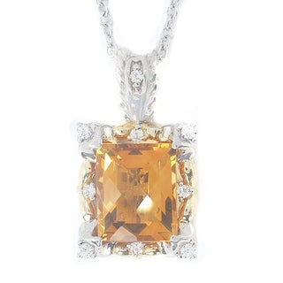 Michael Valitutti Sterling Silver Citrine Cubic Zirconia Necklace