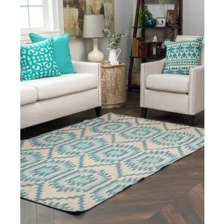 Kosas Home Antonia Sea Blue and Beige Recycled Polypropylene Kilim Rug (8' x 10')