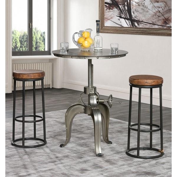 49 Coffee Table Nickel Finish Solid Iron Casters: Kosas Home Kuute Nickel Iron 30-inch Adjustable Crank