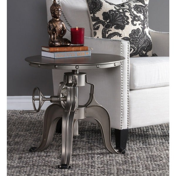 Kuute Adjustable Nickel Crank Table By Kosas Home