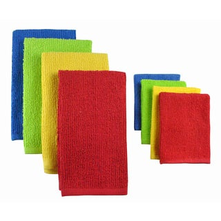 Primary Terry Bar Mop Dish towels and Dish cloths (Set of 8)
