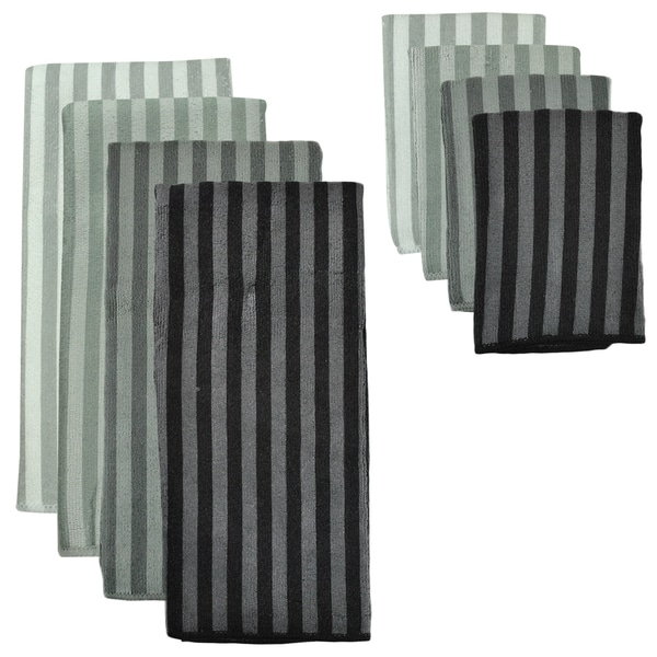Grey Stripe Microfiber Towel and Cloth Set