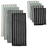 Grey Stripe Microfiber Towel and Cloth Set
