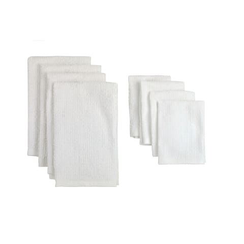White Terry Bar Mop Dish Towels and Dish Cloths (Set of 8)