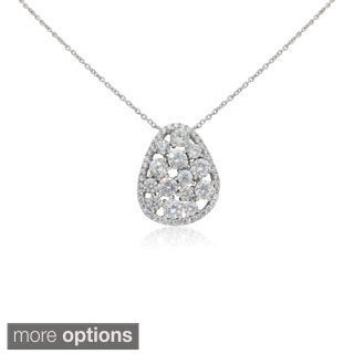 Sterling Silver Round-cut Cubic Zirconia Chain Necklace