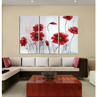Hand-painted Oil 'Red Flowers' Gallery-wrapped Canvas Art Set