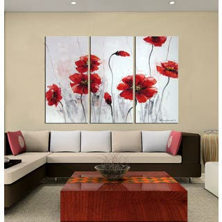 Hand-painted Oil 'Red Flowers' Gallery-wrapped Canvas Art Set|https://ak1.ostkcdn.com/images/products/9916518/P17074039.jpg?impolicy=medium