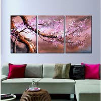 Hand-painted 'Plum bloosom 632' 3-piece oil on Canvas
