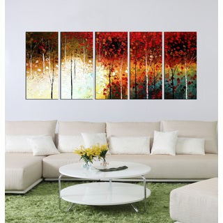 Hand-painted Oil 'mangrove' 5-piece Gallery-wrapped Canvas Art Set