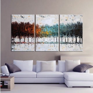 Hand-painted Oil 'The Forest 637' Gallery-wrapped Canvas Art Set