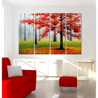 Hand-painted 'Maple Trees' Gallery-wrapped Oil on Canvas Art Set