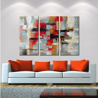 Hand-painted Oil 'Abstract496' Gallery-wrapped Canvas Art Set