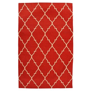 Kosas Home Kosas Edison Red Recycled Plastic Kilim Rug
