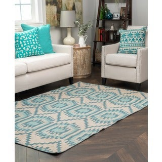 Kosas Home Antonia Sea Blue and Beige Recycled Polypropylene Kilim Rug (5' x 8')