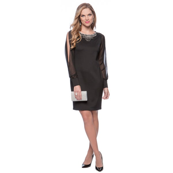 Vince Camuto Black Long Sleeve Jeweled Neck Shift Dress. Opens flyout.