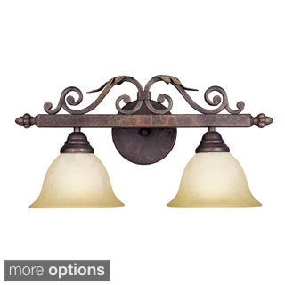 Olympus Tradition Collection 2-light Bath Bar in Crackled Bronze with Silver