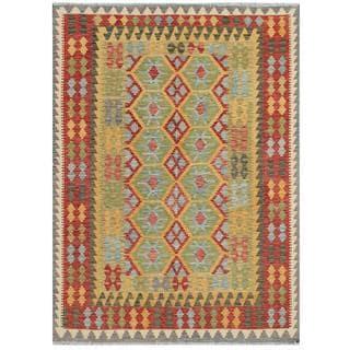 Herat Oriental Afghan Hand-woven Tribal Kilim Red/ Beige Wool Rug (5'7 x 7'7)