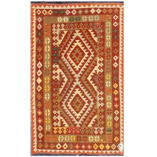 Herat Oriental Afghan Hand-woven Tribal Kilim Brown/ Burgundy Wool Rug (4' x 6'4)