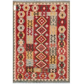 Herat Oriental Afghan Hand-woven Tribal Kilim Red/ Black Wool Rug (4'2 x 5'10)